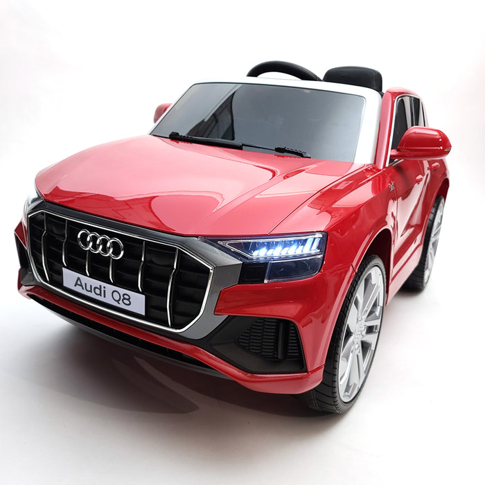 Licences Audi Q8-JJ2066-Red Electric Ride On Car EVA Rubber Wheels 1 Leather Seat 12 Volt 2.4G Remote Control For kids 1 to 3 Years Old