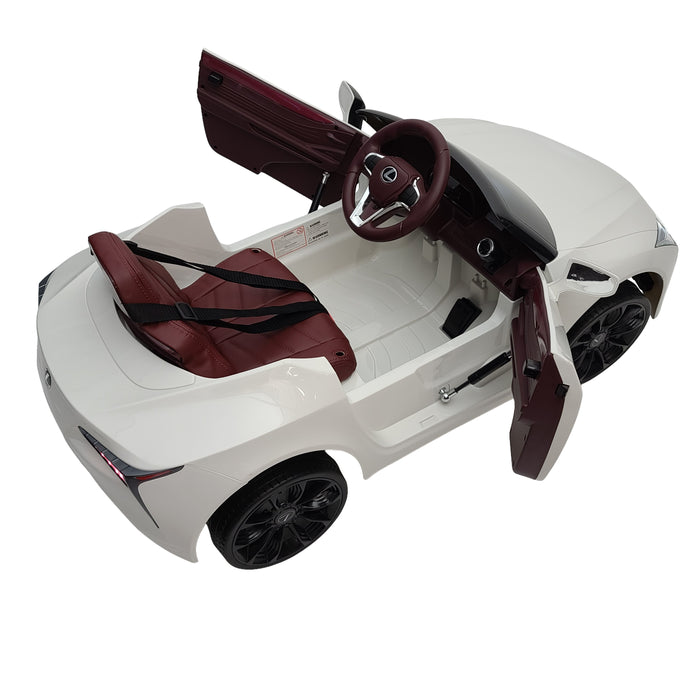 Electric Kids Lexus - JE1618-White 12 Volt EVA Rubber Wheels 2 Motors 1 Leather Seat for kids 1 to 3 years old.