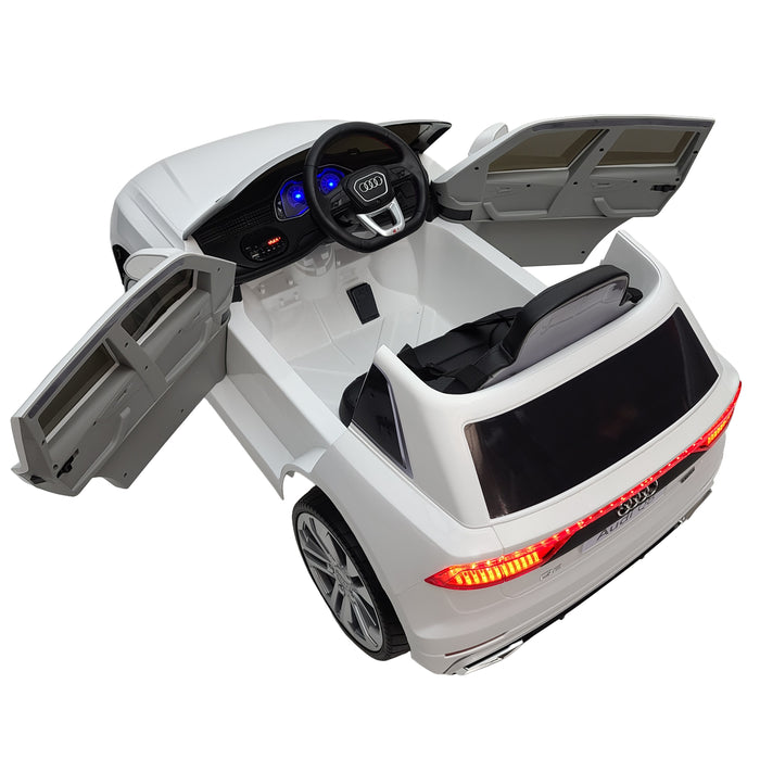 Battery Operated Audi Q8-JJ2066-White 1 Leather Seat EVA Rubber Wheels 12 Volt Battery 2 Motors 2.4 G Remote Control