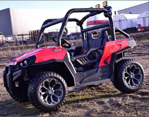 Buggy 7988-Red Kids Electric Ride On UTV Car* 4x4 * 2.4G Remote Control*2 Leather Seats*Rubber Wheels*USB*MP3*3 Speed .