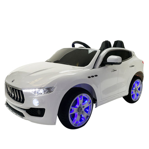 MASERATI LEVANTE-White Color - 12V KIDS ELECTRIC RIDE-ON TOY CAR R/C PARENTAL REMOTE CONTROL Bluetooth LED Wheel