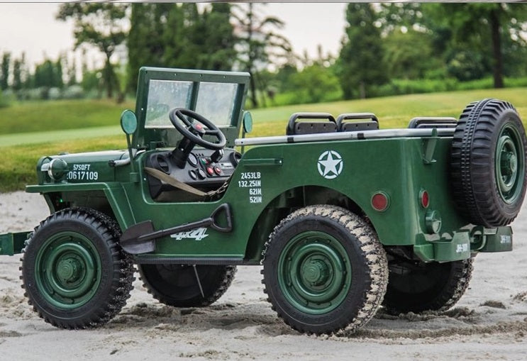 Ride On Electric  Military Car JP-101-GREEN EVA Rubber Wheels 3 Seats 2.4G Remote Control for Kids 2 to 8 years old.