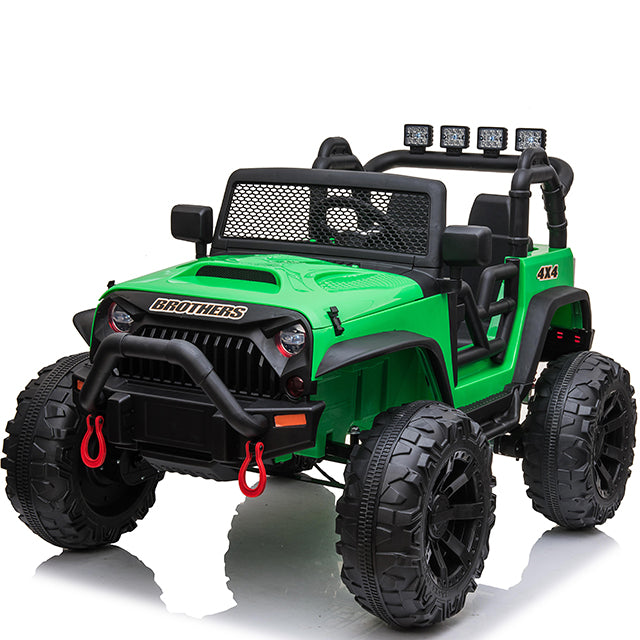 Electric Kids Ride On Car Jp-JC666-green Eva Rubber Wheels 2 Leather Seats TV Screen 2 motors - 200 Watts
