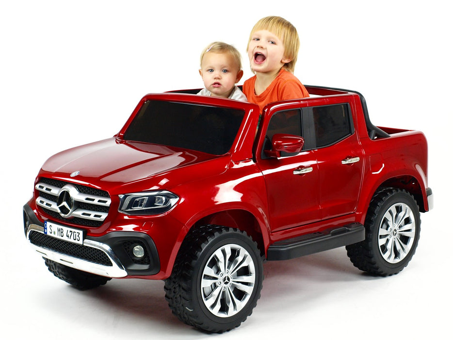 Electric Mercedes MB-XMX606-red Pick up Model 4 Motors- 45 Watts Each 2 Leather Seats MP4 TV Screen