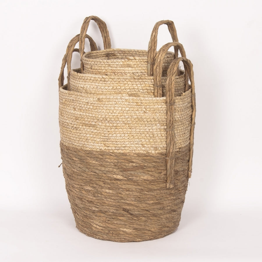 BEIGE/NATURAL STRAW BASKET