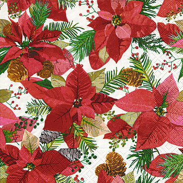 COCKTAIL NAPKIN - SHINY POINSETTIA