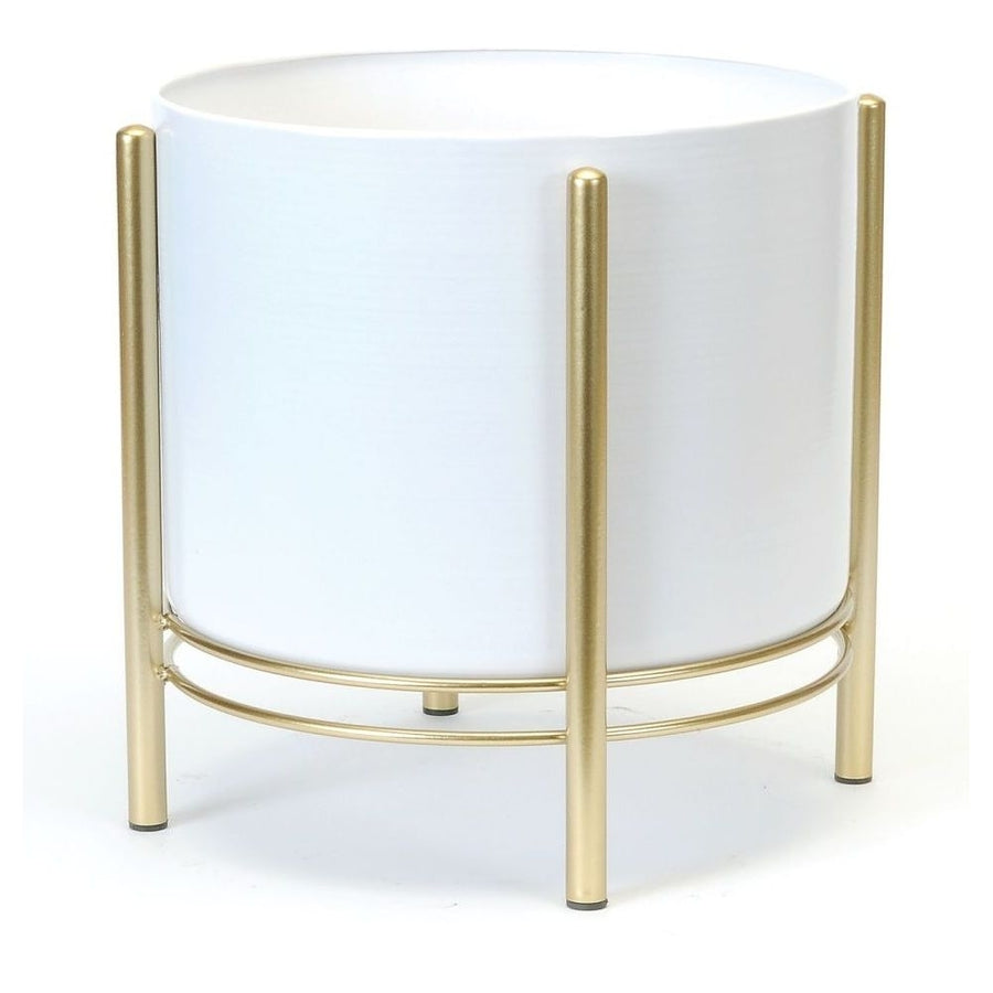WHITE/GOLD FLOOR PLANTER