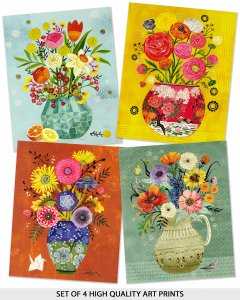 ART PRINTS FLORAL VASES