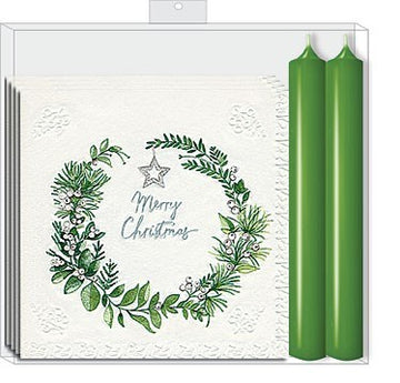 NAPKIN CANDLE SET - WREATH W/GREEN