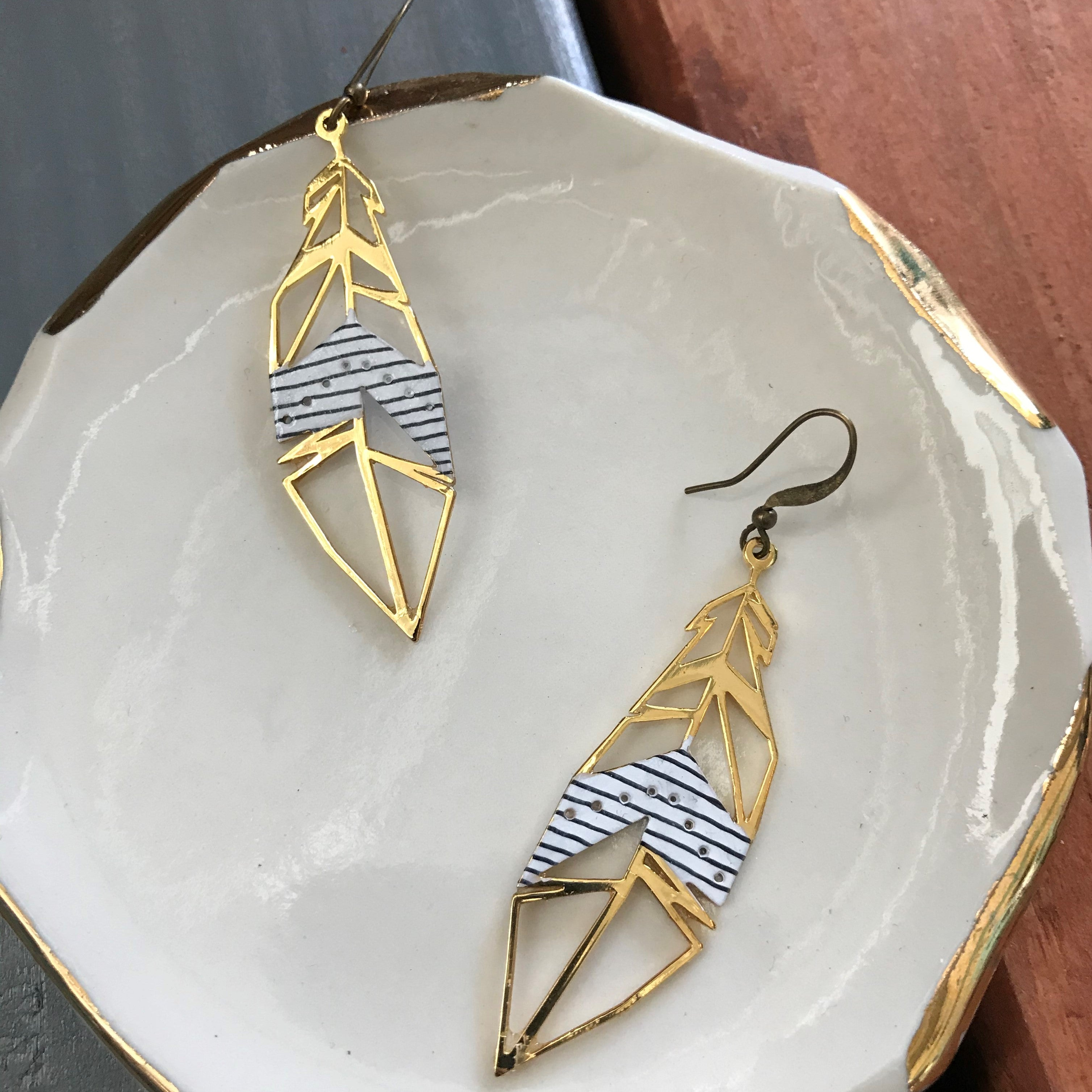 Striped Feather Earrings