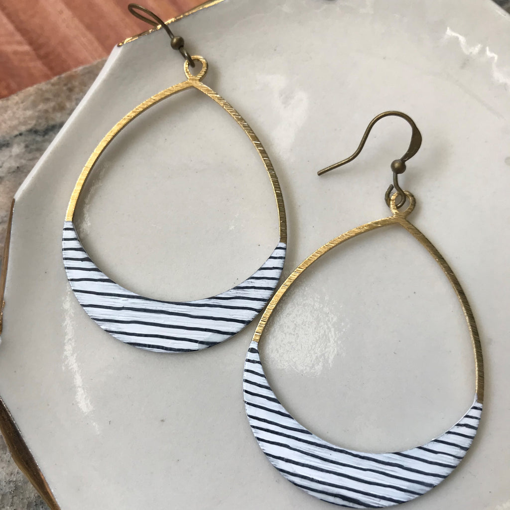 Pinstripe Elongated Hoop Earrings