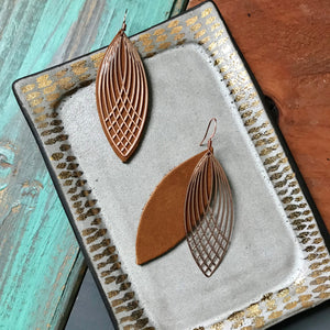 Rose Gold/Almond Leather Lace Leaf Earrings