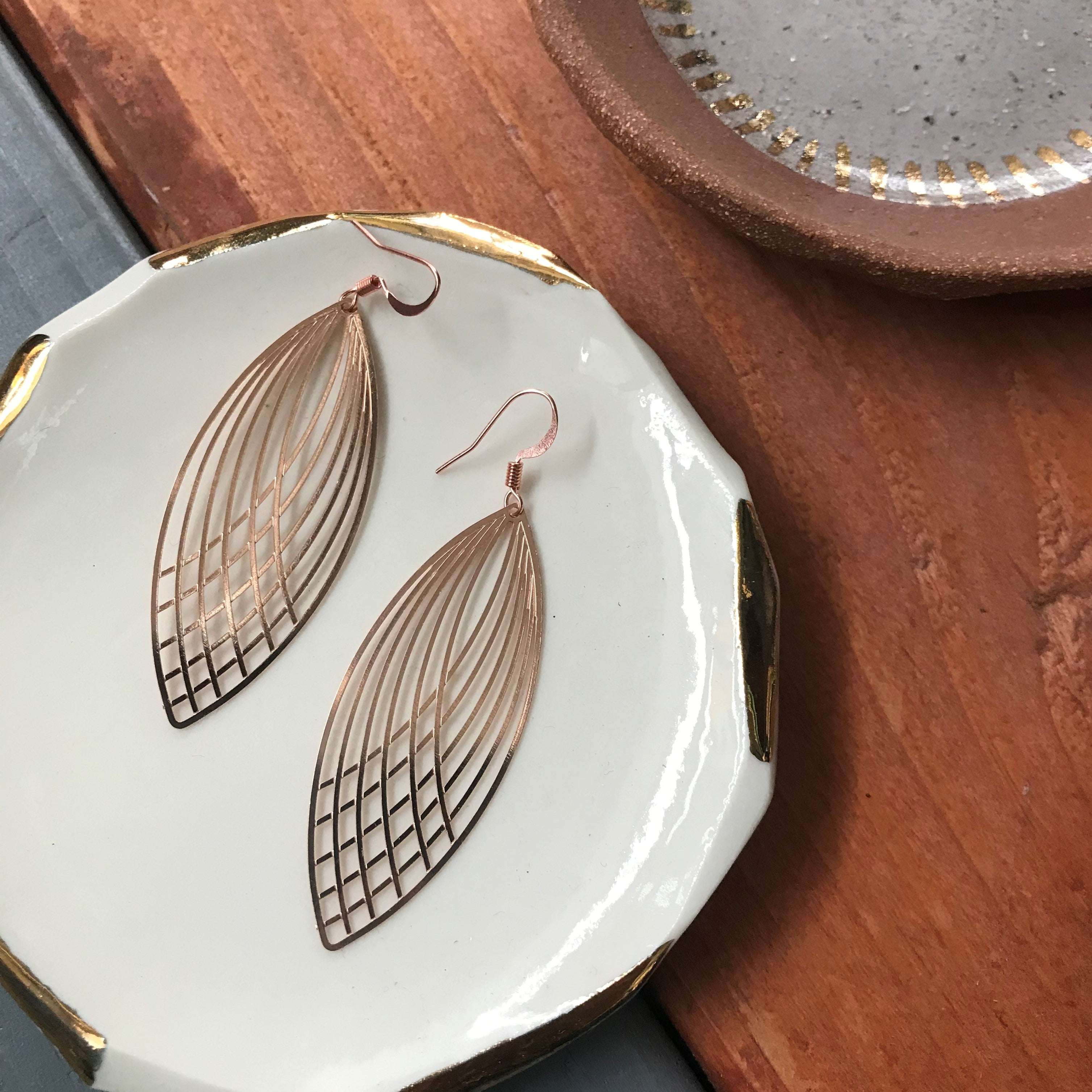 Rose Gold Lace Leaf Earrings