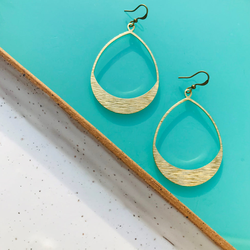 Textured Elongated Hoop Earrings