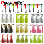 "20 pc Jig Soft Bait Paddle Tail Minnow 45mm (1 3/4"")  0.7g (1/32 oz.) Ten Colors"