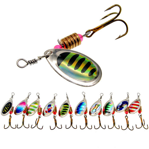 10 Colors Spinner Fishing Lures 1/8 oz.
