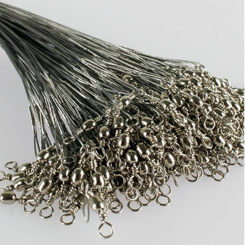 20Pcs/lot Stainless Steel Wire Leader w/Swivel & Interlock Snaps