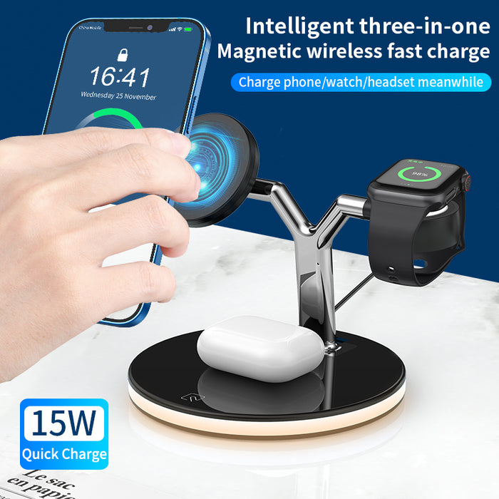 3 in 1 Wireless Charger with MagSafe Night Light Station Lamp for iPhone 12 Series Airpods Pro Apple Watch