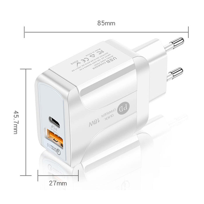 USB C Charger 36W 2-Port Fast Charger PD Wall Charger for iPhone 12 Mini Pro Max