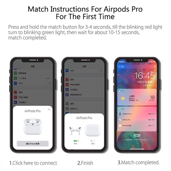 Charging Case For Airpods Pro Replacement Qi Wireless Bluetooth 660Mah Battery with Pairing Sync Button