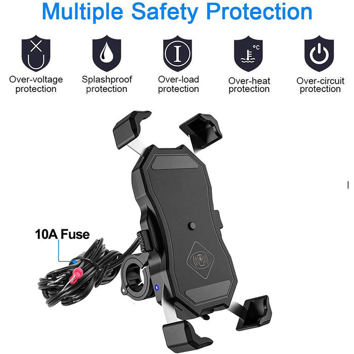 Motorcycle Phone Holder with Wireless Charger Waterproof Mobile Phone Mount for Motorcycle