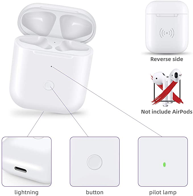 Charging Case for Airpods 1&2 Replacement Qi Wireless 450Mah Battery with Pairing Sync Button