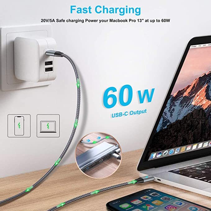 USB C Extension Cable Type C Male to Female 1M Fast Charging for Apple Magsafe Wireless Charger