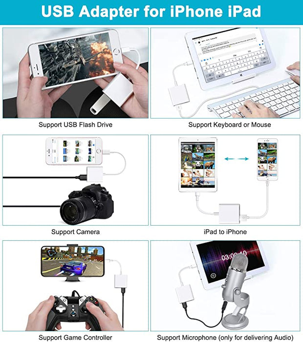 Camera Adapter with Charging Port for iPhone/iPad USB OTG Cable Support USB Flash Drive Card Reader Keyboard