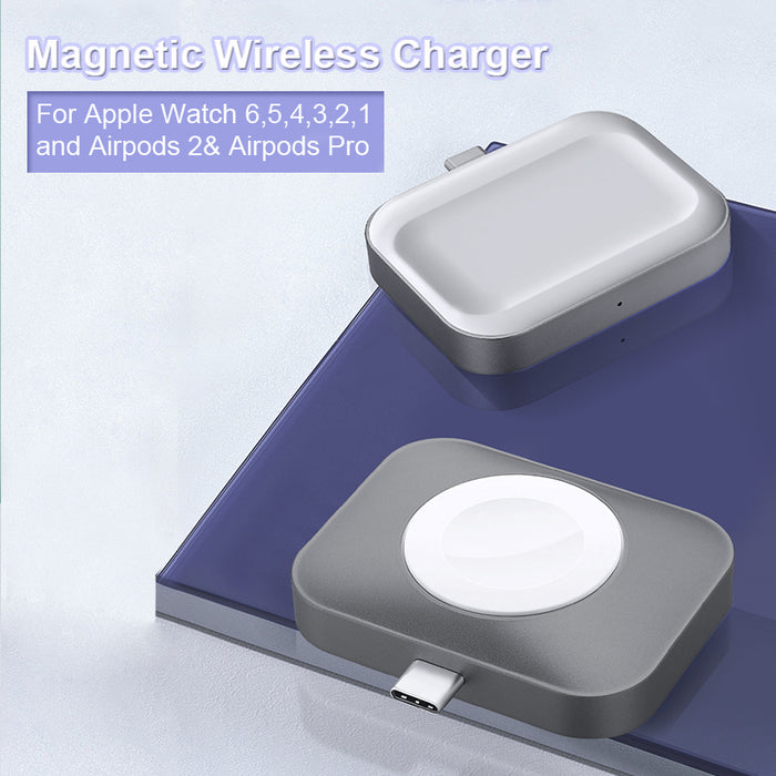 Portable Magnetic Wireless Charger for Apple Watch 6/5/4/3/2/1 and Airpods Pro