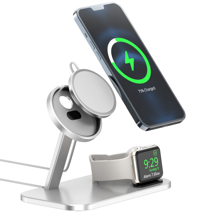 2 in 1 Aluminum Charging Stand Magnet Desktop Holder for iPhone 12 Mini Pro Max and Apple Watch
