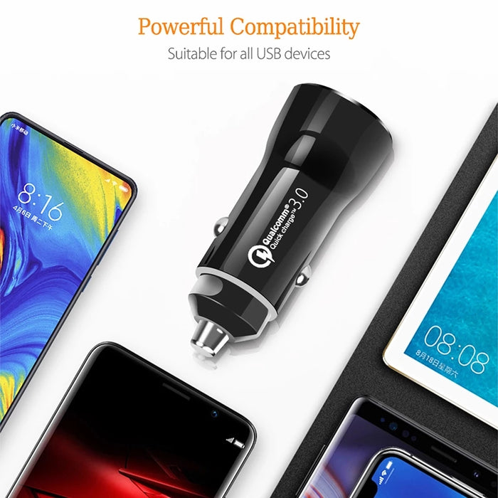 Dual USB Car Charger 30W QC 3.0 Fast Mini Cigarette Lighter Adapter for iPhone 11 12 Pro Mini Max