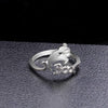 S925 Halloween Ghost Witch Broom Finger Ring