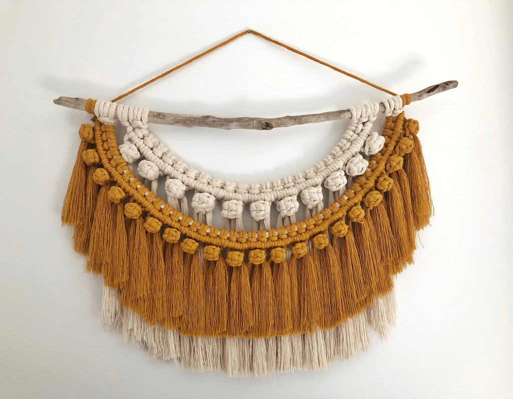 Mustard & Natural Fringe Wall Hanging
