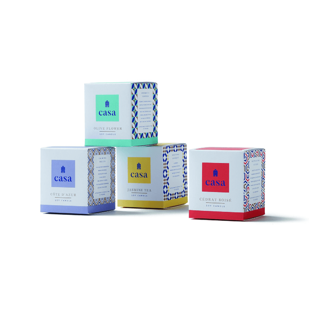 Assorted Soy Candles Set: Cédrat Boisé, Cote d'Azur, Olive Flower, Jasmine Tea
