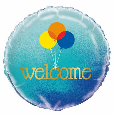 Blue Ombre Welcome 45cm (18) Foil Balloon Packaged
