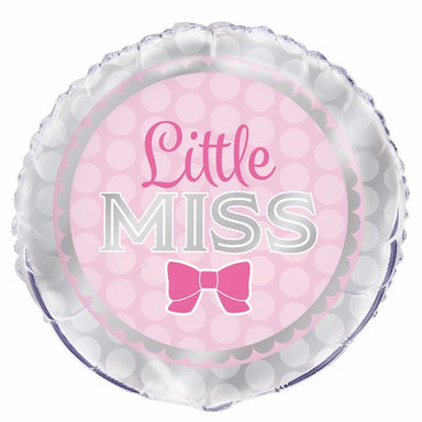 Little Miss Pink Girl Bow 45cm (18) Foil Balloon Packaged