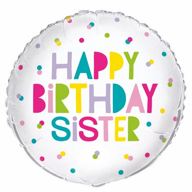 Happy Birthday Sister 45cm (18) Foil Balloon Packaged