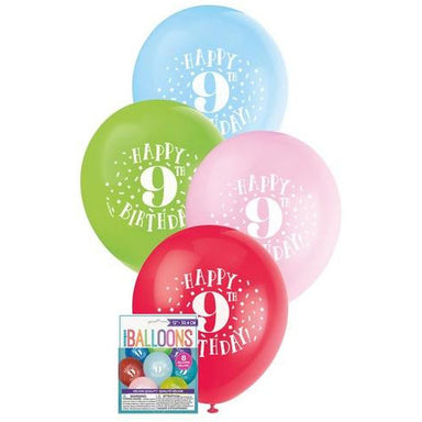 Happy 9th Birthday 8 x 30cm (12) Balloons - Assorted Colours