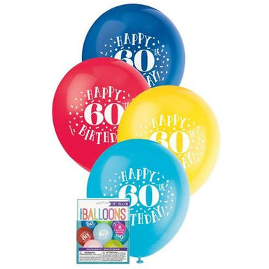 Happy 60th Birthday 8 x 30cm (12) Balloons - Assorted Colours