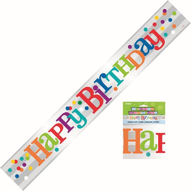 Rainbow Happy Birthday Dots Foil Banner 365m 12