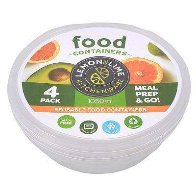 Disposable Food Containers - Round 4 Pack 1050ml