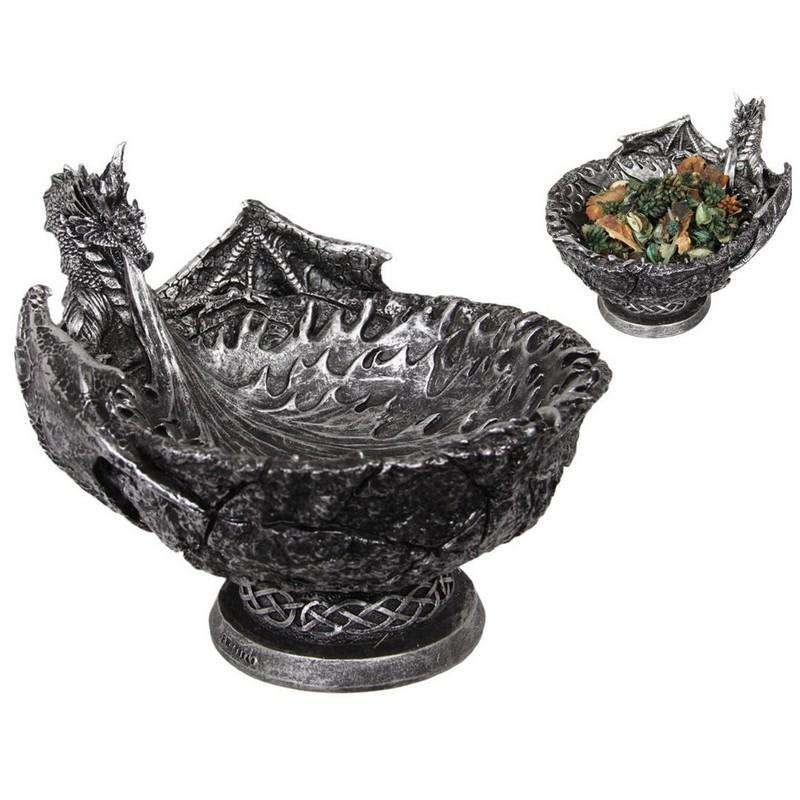 Silver Dragon Breathing Fire Bowl 23cm