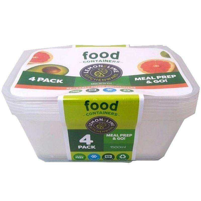 Disposable Food Containers - Rectangular 4 Pack 1500ml