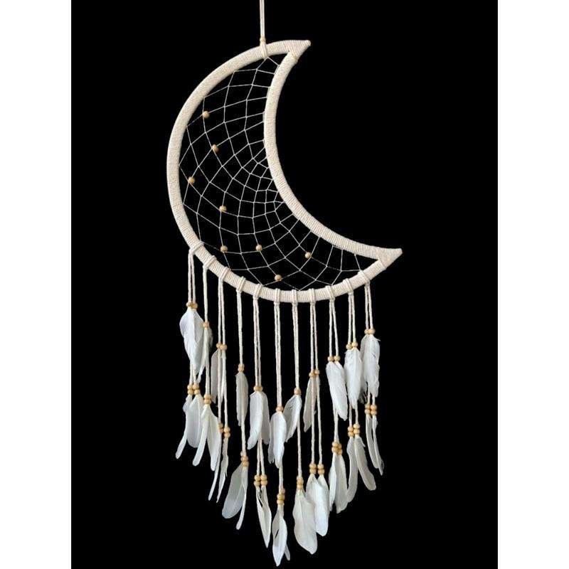 White Moon Shape Dream Catcher with Feathers 97cm