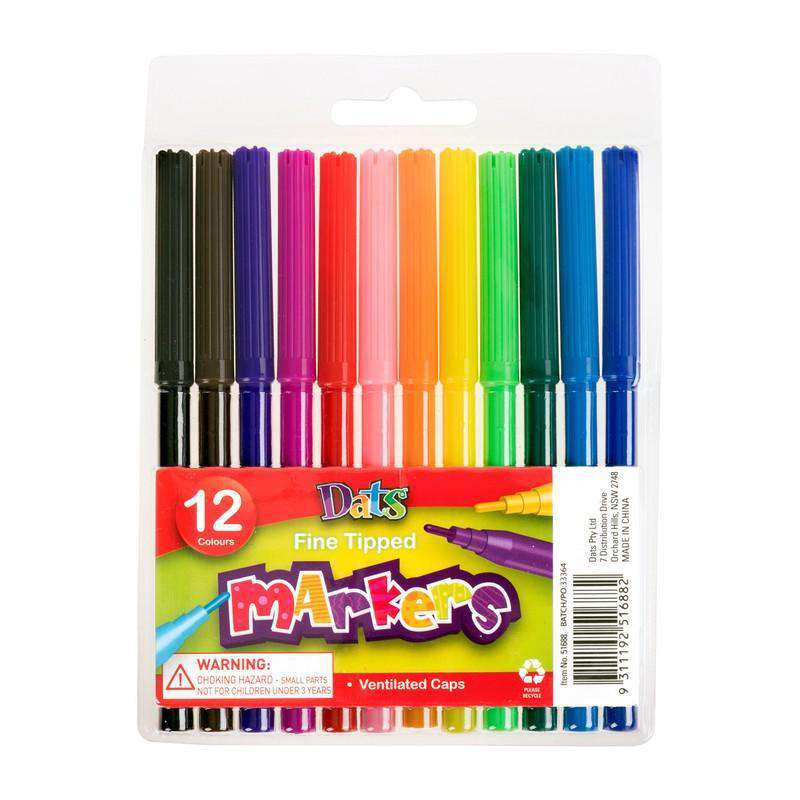 Markers and Pencils - Fine Point 12 Pack