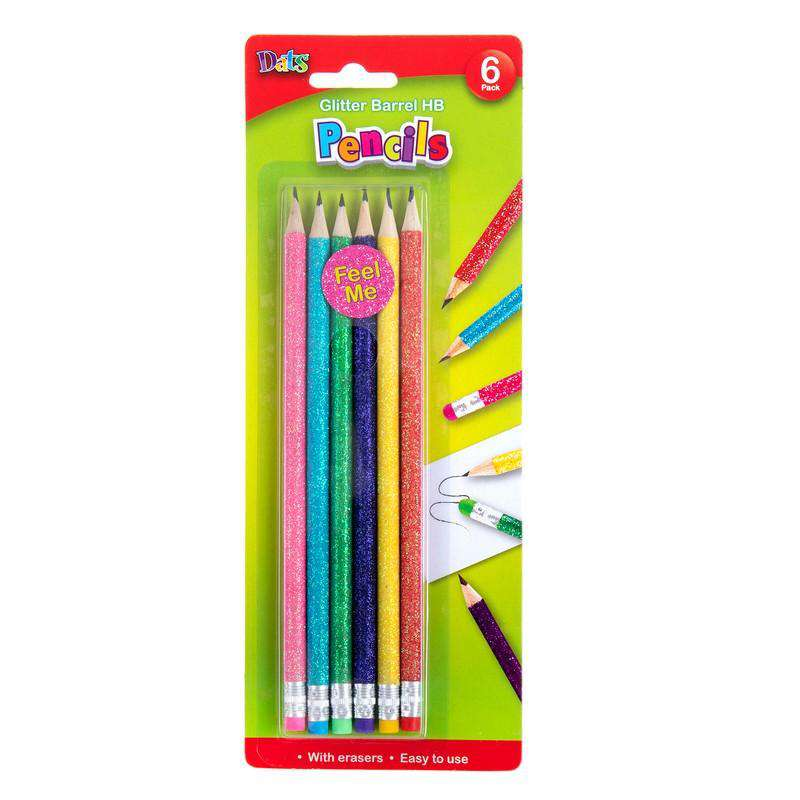 HB Glitter Barrel Pencils With Erasers - 6 Pack