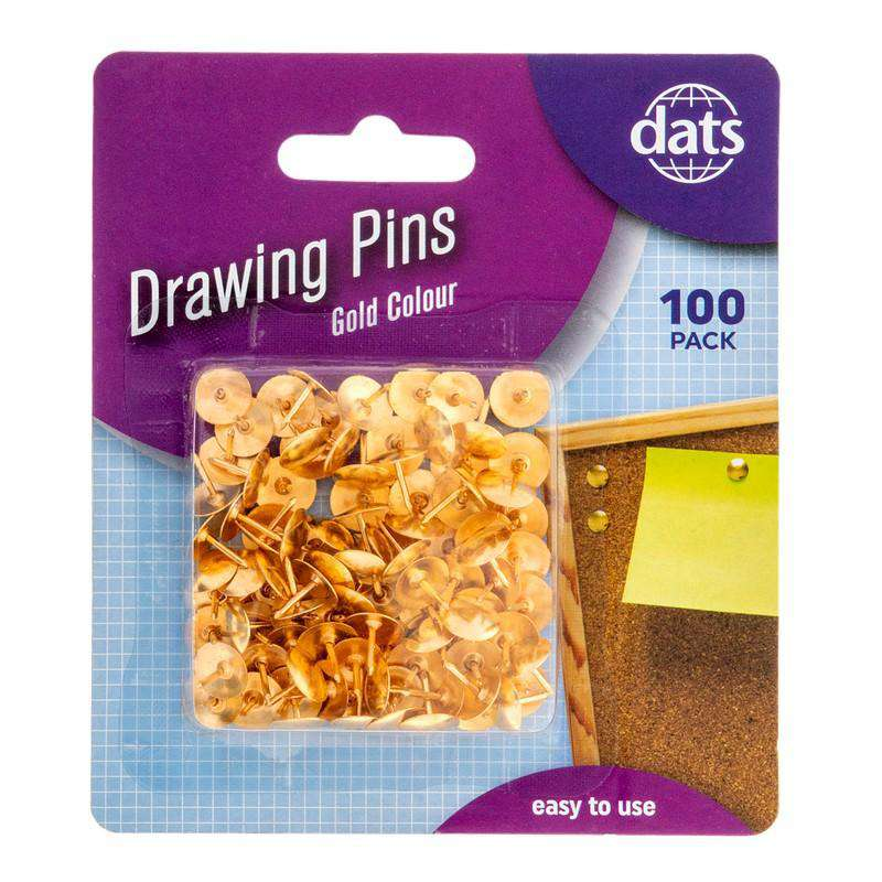 Gold Drawing Pins - 100pk