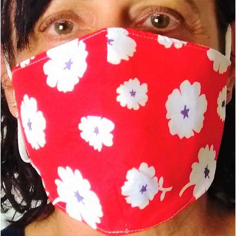 Fabric Mask White Flowers on Red