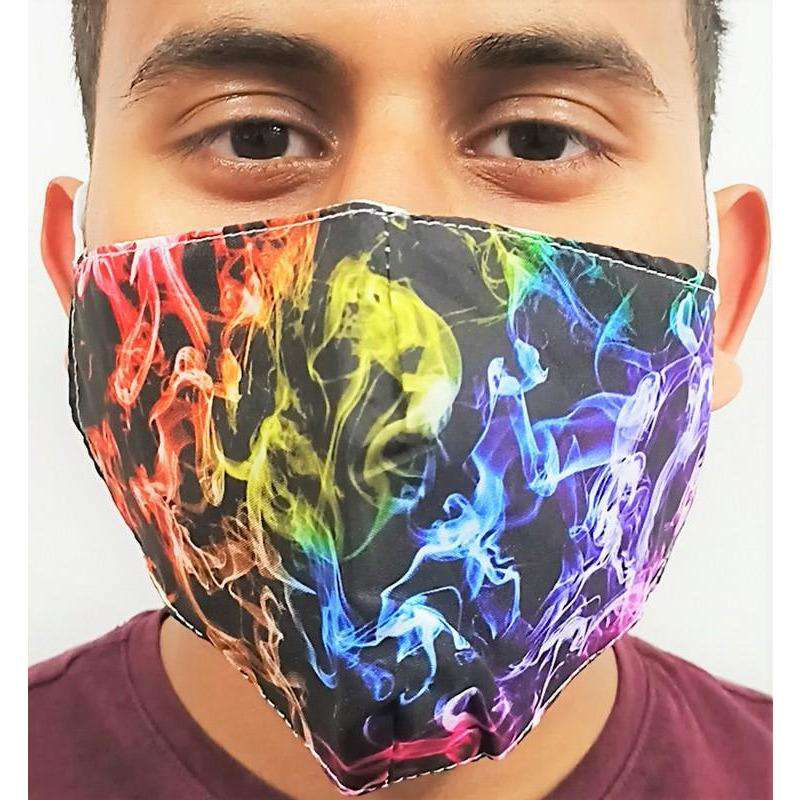 Fabric Mask Colourful Flames