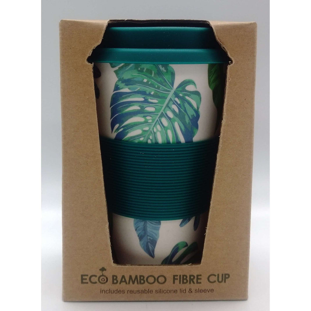 Eco-Bamboo Fibre Mug - Green with Leaves 400ml